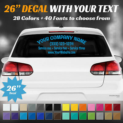 "26"" Custom Car, Truck Door Back Window Decal Business Name Vinyl Sign Lettering"