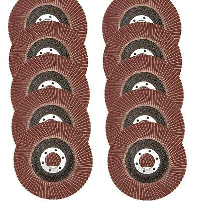 "10 Assorted GRIT 4 1/2"" ANGLE GRINDER SANDING FLAP Wheel DISC 40/60/80/120/180"