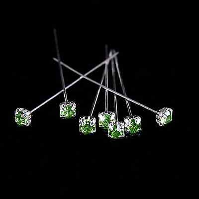 12 36 or 72 4cm Lime Green Quality Diamante Pins Luxury Crystal Diamonte 1.5 4mm