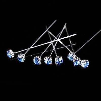 12, 36 or 72 4cm Light Blue Quality Diamante Pins Luxury Crystal Diamonte 4mm