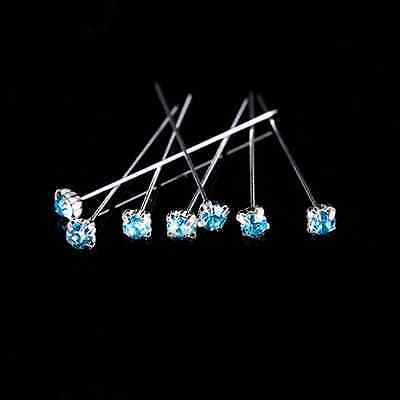 12, 36 or 72 4cm Turquoise Quality Diamante Pins Luxury Crystal Diamonte 1.5 4mm