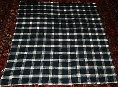 1.6 Yds Vintage Wool Flannel Plaid Fabric Navy Green Cream & Black Project #'d