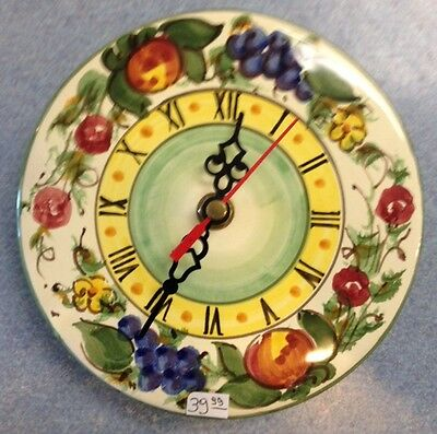Vietri pottery-6inch wall clock Enza pattern.Made/painted by hand in Italy