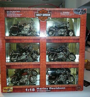 New In Box Harley Davidson Collection #5 1:18 Die Cast Metal 6 Motorcycles 1999