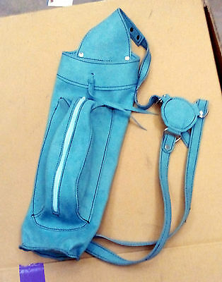 NEW Archer's Leather Back Quiver with Front Large Zipper Pocket, Sky Blue Color