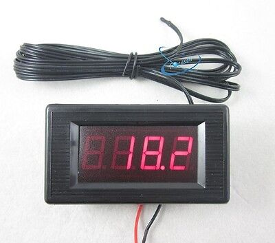 12V Red Digital Thermometer High Low Temperature Alarm -60~125C +2m Sensor Probe