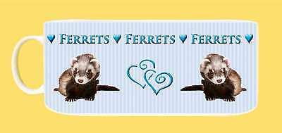 Ferret Wraparound Candy Striped Image Mug with Gift Tag, choice 3 colours