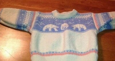 Vintage Thick Soft Norlender Norway Pullover Sweater Wool Pink Blue Retail $130