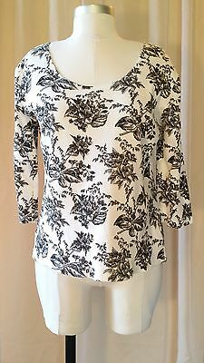Dressbarn Vintage B&w Floral Print Scoop Neck Three Quarter Sleeve Top Blouse Sm
