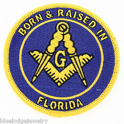 2 Master Mason Born And Raised in Florida  Masonic Patches