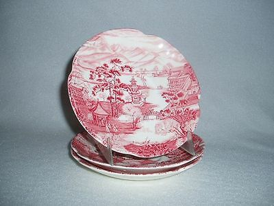 Johnson Brothers China Enchanted Garden Pink Red Saucers Set of 3