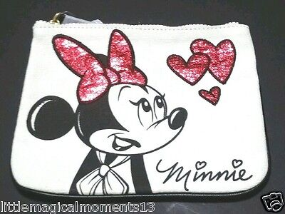 Disney Parks Minnie Mouse Glitter Makeup Bag Coin Purse Cream