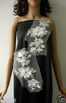 VF125 Mirror Layered 3D Floral Sequined Embroidered Applique White Design/Sewing