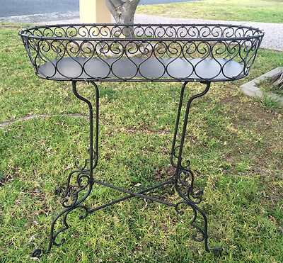 Elegant FRENCH provincial Wrought Iron Art Planter Plant Stand Antique