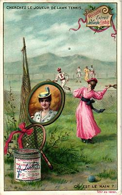 6 Cards c1896 Litho Sports with Hidden Objects Croquet Tennis Rowing Jockey Chas