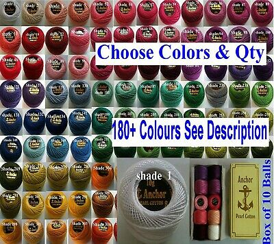 10 ANCHOR Pearl Cotton Crochet Embroidery Thread Balls £9.99 Choose from 200 +