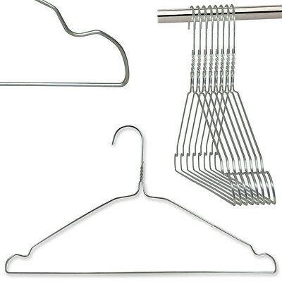 20 Silver Metal Wire Strong Coat Clothes Garment Hangers Notch 40Cm