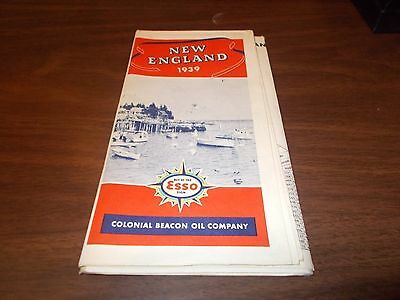 1939 Esso New England Vintage Road Map