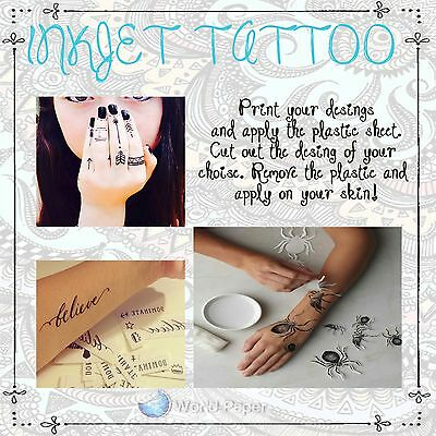 Make Personalized tattoos , Inkjet/laser DIY Temporary Tattoo Paper