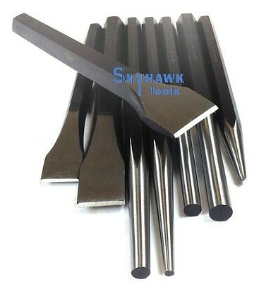 8 Pc Heavy-Duty Jumbo Large Mechanic's Steel Metal Punch & Chisel Pin Tool Set
