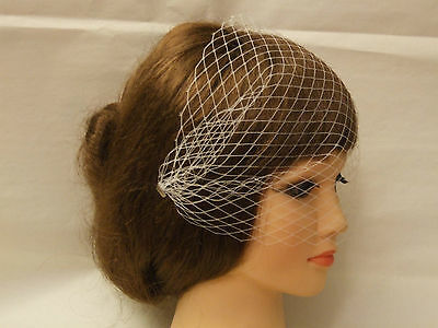 Birdcage veil Ivory White Black Bridal Wedding Veil  Blusher wedding fascinator