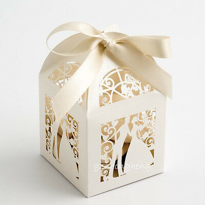 50pcs Luxury cut-out design wedding sweets gift favour boxes with ribbon ties