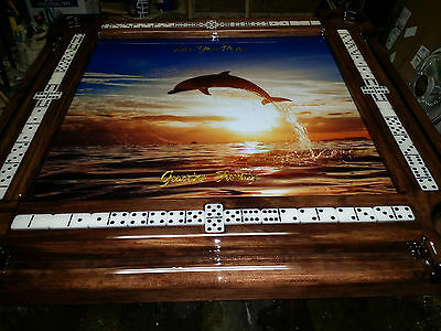Leaping Dolphin Domino Table with YOUR name by Domino Tables by Art