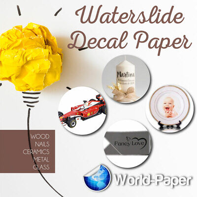 Waterslide decal paper for hard surfaces White and Clear Laser or Inkjet