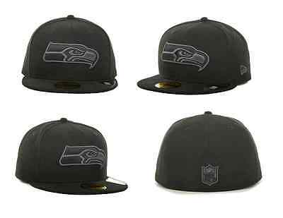 ba765ad06e873 Seattle Seahawks New Era NFL Black Gray Basic 59FIFTY Fitted Hat Cap BRAND  NEW