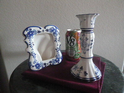 Delft blue hand painted  Holland ceramic fotoframe candlestick sign collectible