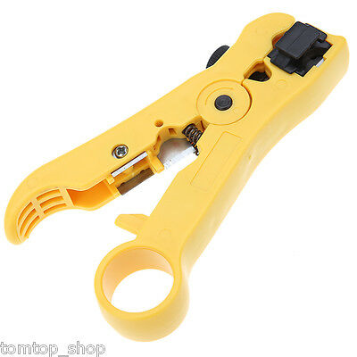 Yellow Useful RG59/6/7/11 Coaxial Cable Stripper Crimper Tool CAT 5