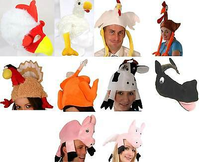 Funny farm animal hats chicken pig cow horse turkey  fancy dress stag party