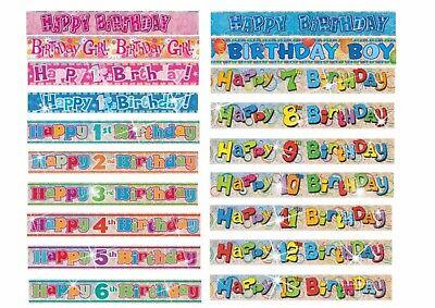 First 1st Happy Birthday Holographic Teddy Bear banner 12ft long in Blue or Pink