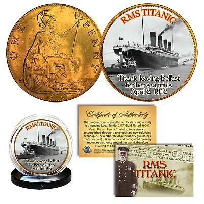 RMS TITANIC * Sea Trials * Colorized 1912 Great Britain Penny Coin UK British