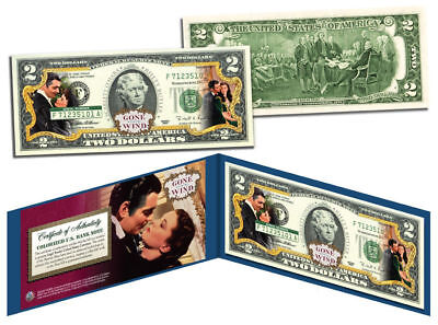 GONE WITH THE WIND Movie Colorized $2 Bill US Legal Tender *OFFICIALLY LICENSED*