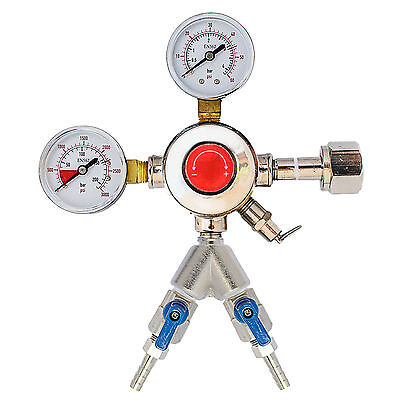 "Chrome Draft Beer Co2 Regulator with 2 Outputs with 3/16"" Shutoffs CHR2X3/16"