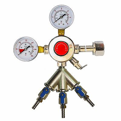 "Chrome Draft Beer Co2 Regulator, 3 Way Gas Splitter, 3/16"" Shutoffs CHR3X3/16"