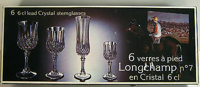NIB Set of 6 Cristal d'Arques 6 Cl 24% Lead Crystal Stemglasses