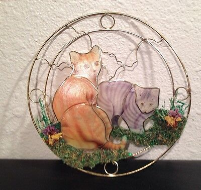 Kitty Cat Shell Art Handcrafted Wall Hanging Pressed Floral Multi-Color Art Deco