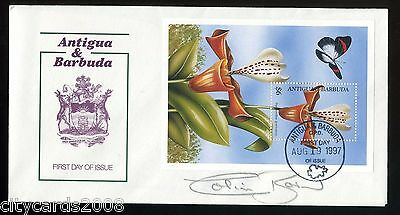 1997 ANTIGUA & BARBUDA Orchids & Butterfly M/S FDC signed Colin Baker  (Dr Who)