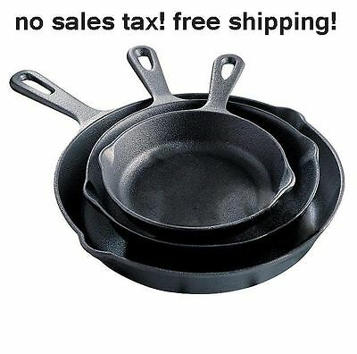 Culinary Game 3Piece Cast Iron Fry Pan Set Skillets Kitchen Cook Stovetop Oven