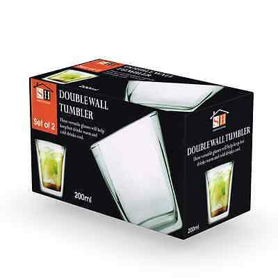 Pack of 2 Double Wall Thermo Clear Home Drinks Drinking Tumblers / Cups 26-24