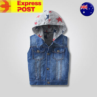 New Cool Kids Boys casual denim jeans 100% cotton hooded vest size 2Y - 10Y