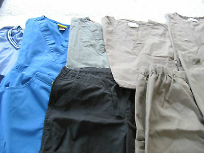 Womans Lot Of Scrub Sets, 6 Tops, 4 Pants, Very Nice    Size S  (Box238)