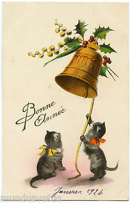 Beaux Chats Noirs. Beautiful Black Cats. Cloche. Bell.