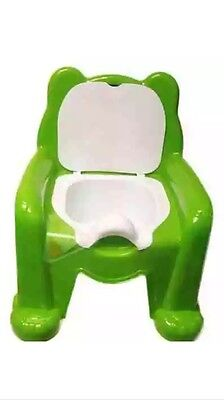 Child Toilet Seat Green Potty Training Seat Chair Removable Lid Kids Baby New