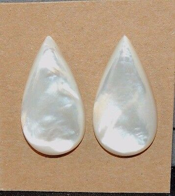 Mother of Pearl 15x28mm Cabochons with 5mm dome Set of 2 (8711)