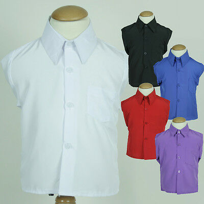 Boy Toddler Formal Silk Buttoned Dress Shirt Wedding Black White Blue Red Purple
