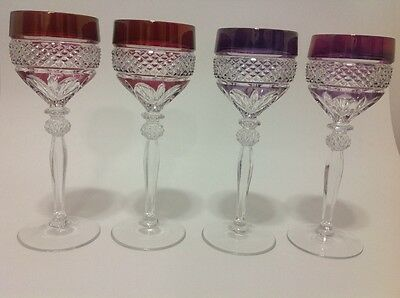 "CUT TO CLEAR CRYSTAL COLORED RED/PURPLE LOT 4 GLASSES 7 1/4""."