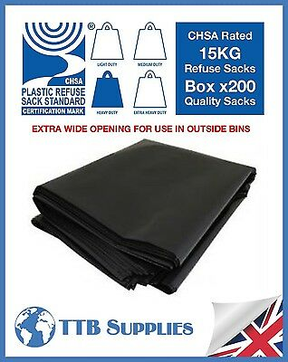 x200 Heavy Duty Extra Wide Black Bin Rubbish Bag Refuse Sacks 18x29x39 15kg